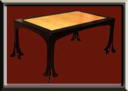 Bird's Eye Maple and Black Lacquer Table