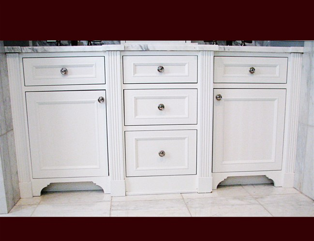 Divided Lite Upper Cabinet; White Lacquer Maple Bathroom Vanity. Double  Sink And Drawer Cabinets. Fluted Columns.