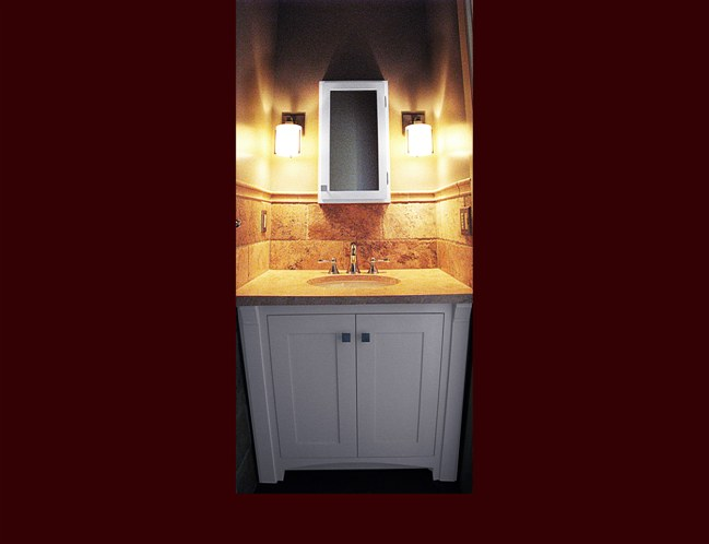 Post; Off White Vanity. Flat Panel Inset Door Style. Column Detail With  Corbels.