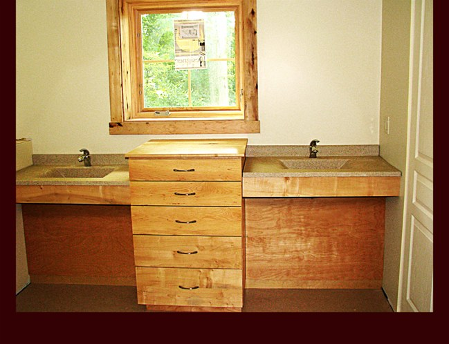 Hickory Master Bath Double Sink Cabinetry With Center Drawer Base. ADA  Handicap Accessible Sinks.