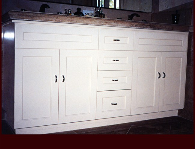 ... White Painted Double Sink Vanity Cabinet. Flat Panel Full Overlay Door  Style.