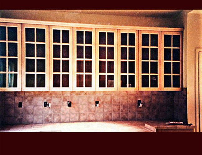 Kitchen cabinetry upper wall cabinets ided lite glass door detail